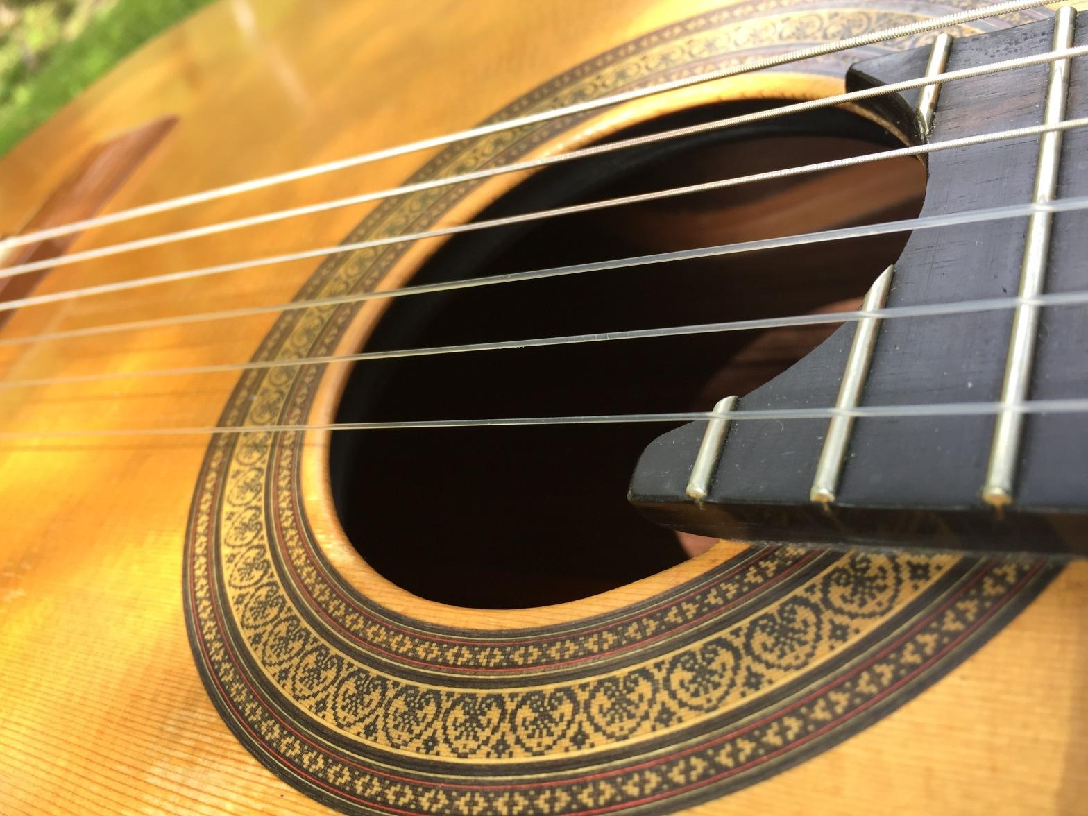 Nylon stringed guitar close up